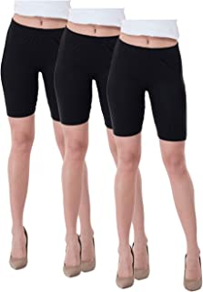 IndiWeaves Women's Cotton Cycling Shorts (Csw03-03-iw_Black_38) Pack of 3
