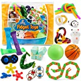 Sensory Fidget Toys 23-Pack – Stress Relief Toys for Focus & Calm – Toy Box & Party Favor Fidget Pack + Reusable Bag – Fidget Spinner, Stress Ball, Infinity Cube, Sensory Rings, & More by Chuchik