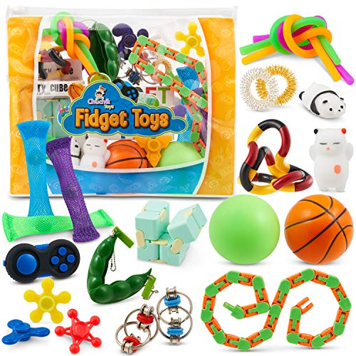Sensory Fidget Toys 23-Pack – Stress Relief Toys for Focus & Calm – Toy Box & Party Favor Fidget Pack + Reusable Bag – Fidget Spinner, Stress Ball, Infinity Cube, Sensory Toy Rings, & More by Chuchik