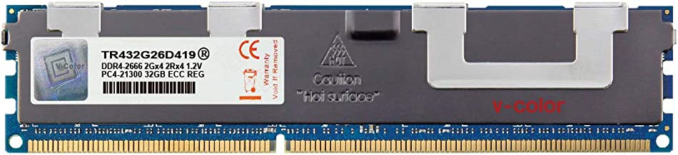 V-Color 32GB (1 x 32GB) Dual Rank Server Memory Ram Module Upgrade DDR4 2666MHz (PC4-21300) ECC Registered DIMM with Heat Sink 1.2V CL19 2Rx4 (TR432G26D419)