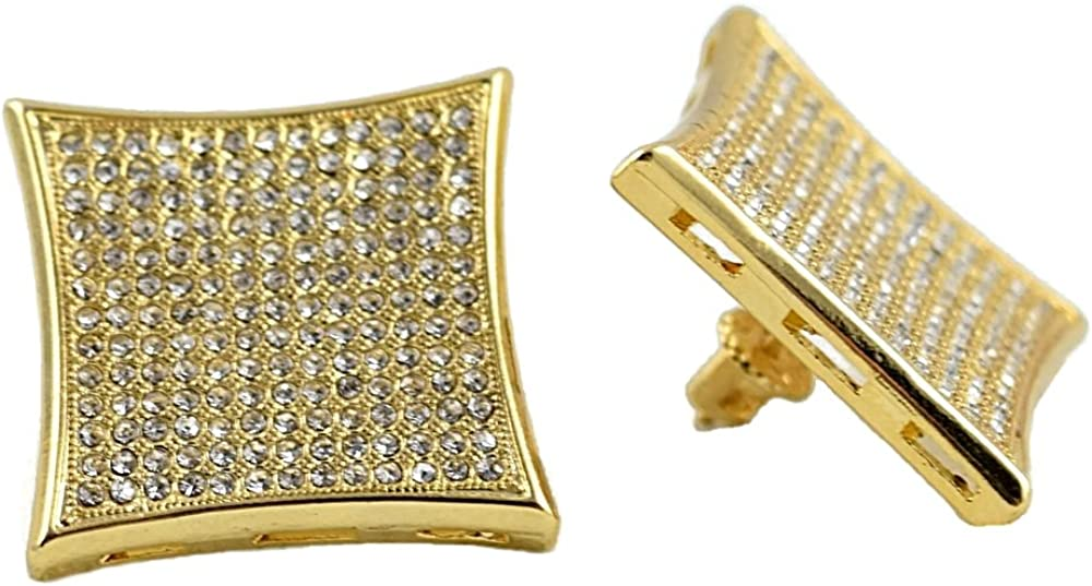 Mens Huge Kite Earrings 25MM Big Hip Hop Gold Finish Screw Back 13 Rows Bling Micro Pave
