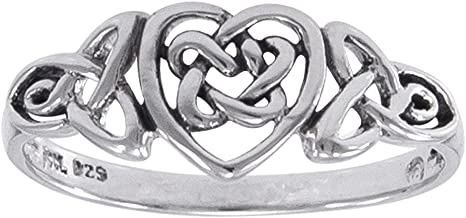 Sterling Silver Celtic Trinity Knot Heart Ring(Sizes 3,4,5,6,7,8,9,10,11,12,13,14,15,16)
