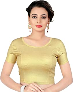 Indian Ethnic Design Stretchable Cotton Lycra Blouses Beige Tops Readymade Saree Blouses Short Sleeve Crop Top