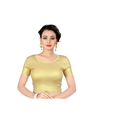 edd55b9d40277 Indian Ethnic Design Stretchable Cotton Lycra Blouses Beige Tops Readymade Saree  Blouses Short Sleeve Crop Top