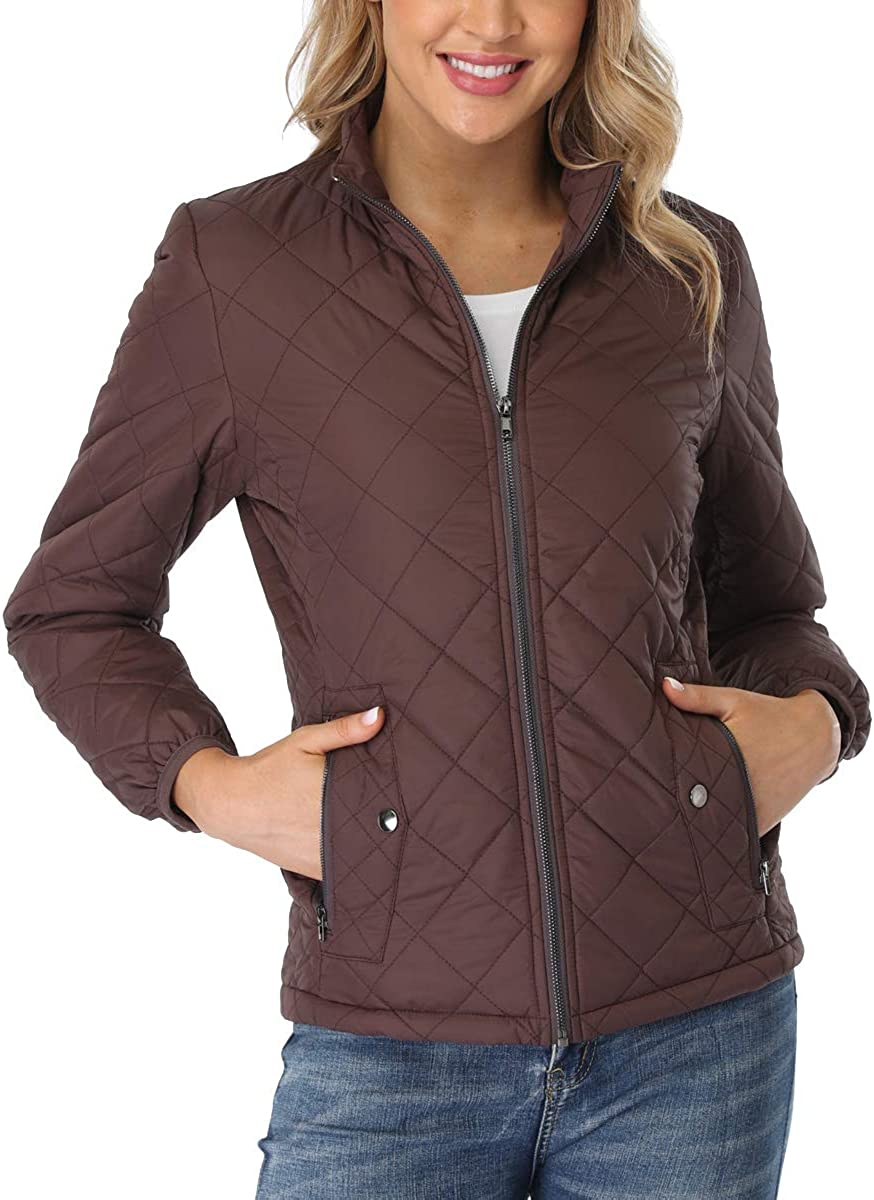PEIQI Women's Quilted Jacket Selling and selling Coat Stand Puffer Zip-up Outwear Co Max 40% OFF