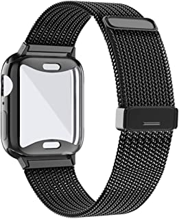 KEOLUS Compatible for Apple Watch Band with Screen Protector 38mm 40mm 42mm 44mm, Soft TPU Protective Case with Stainless Steel Mesh Loop Replacement for iWatch Band Series 5 4 3 2 1