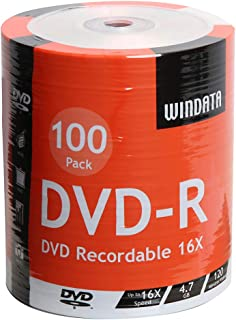 Windata DVD-R Discs 100 Pack 16x 4.7GB/120 Minute Blank Data Recordable Media - 100-Pack Shrink Wrap