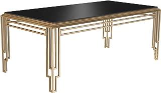 Bombay Art Deco Black Glass Top Rectangular Dining Table, 6.5 Ft, Brass Gold