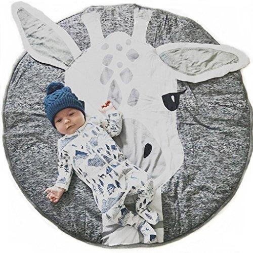 Babydecke aus 100% Baumwolle, Baby Krabbeldecke Kinderteppich, Rund weich gepolstert Krabbeldecke Gepolstert Kinderteppich, Muster Hirsch