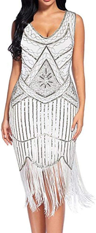Joyccu Women's Vintage 1920s Sequin Beaded Tassels Party Night Hem Gown Classic Club Dress