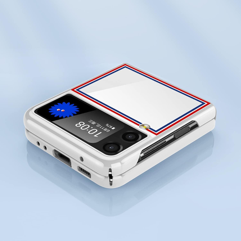 CENMASO Designed for Samsung Galaxy Z Flip 3 Case, [Slim Fit] Mirror Hard Polycarbonate Anti-Drop Bumper Case for Galaxy Z Flip 3 (Color bar White)…