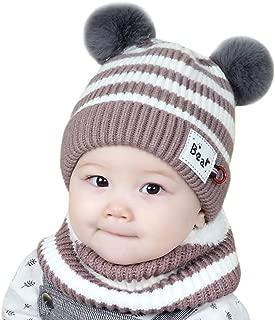 Invierno Bebe Gorros con Pompon Y Bufanda de Punto Cuello Redondo Gorras Bebé Recién Nacido Sombreros Bebé de Punto Niña Unisex Pelota de Felpa Mantenga el Sombrero Caliente Gorras para Niñas y Niños