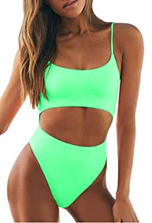 Best Womens Scoop Neck Cut Out Front Lace Up Back High Cut Monokini One Piece Swimsuit Reviews