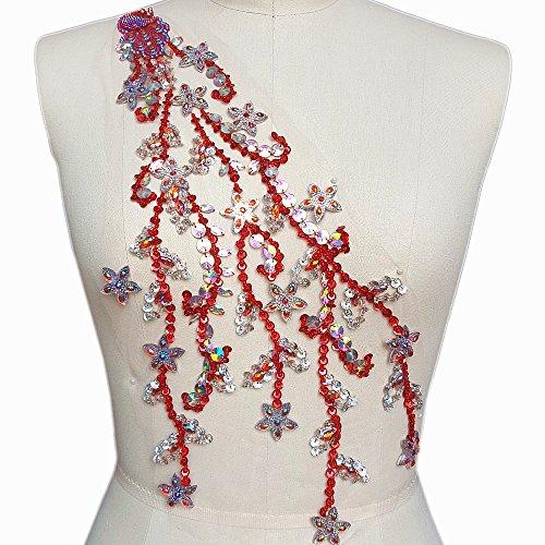 Handmade Beaded Sequin AB Bling Sew On Neckline Big Rhinestones Crystal Trim Bridal Applique Design Patch Sewing for Wedding Collar Dresses DIY Decoration 22x44cm (Red)
