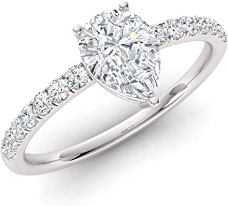 Diamondere Natural and Certified Pear Cut Diamond Engagement Ring in 14K White Gold | 0.43 Carat Sidestone Ring for Women,...