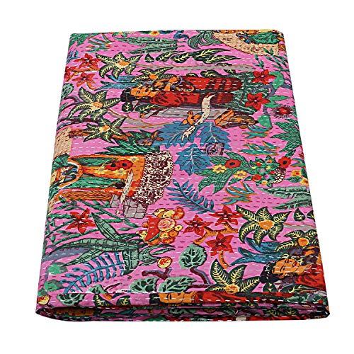 Colcha india Kantha para decoración de dormitorio hippie étnico hecha a mano de algodón kantha edredones reversibles de tamaño doble cosido