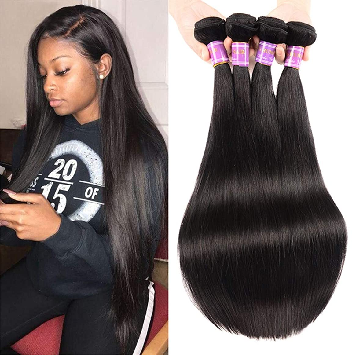 楽しませる連続的政治的女性髪の毛編むブラジルの髪バンドルで閉鎖ストレートフリーパーツ未処理のブラジルのストレートヘアバンドル8Aストレート人間の髪バンドル