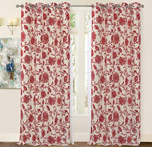 DriftAway Freda Jacobean Floral Linen Blend Lined Thermal Insulated Room Darkening Blackout Grommet Window Curtains 2 Layers 2 Panels Each 52 Inch by 84 Inch Red Beige