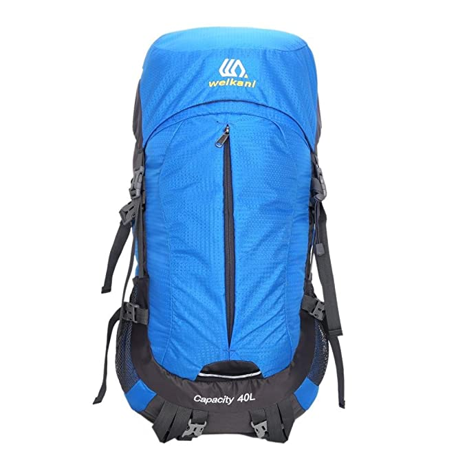 Buy Trendyest Men's Mountaineering Bag Hiking Backpack Outdoor 40L Nylon  Rain Cover Windproof Backpack One Size Sky Blue at Amazon.in