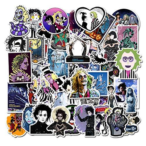Famous Movies Tim Burton Stickers 50 Packs Sweeney Todd, Corpse Bride, Sleepy Hollow, Edward Scissorhands Stickers for Water Bottles Laptop Bike Car Guitar Luggage Skateboard Best Gift for Kids Teen