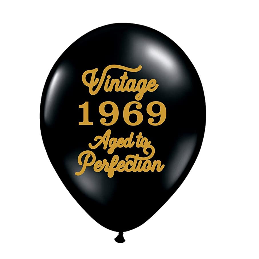 Vintage 1969 Black Balloons - 50th Birthday Balloons - Set of 3