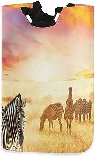 ZOMOY Grand Organiser Paniers pour Vêtements Stockage,Safari zèbres africains au Coucher de Soleil féerique sur Le thème d...