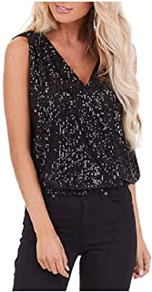 UUYUK Womens Strappy Flare Glitter Camisole Tank Top Sparkle Blouses Vest Sexy