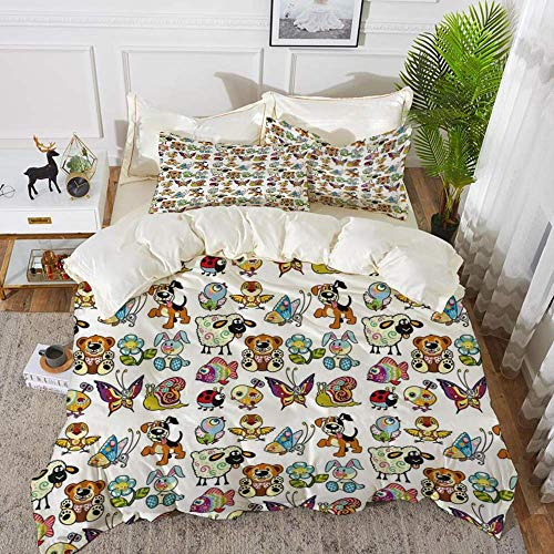 Qoqon bedding - Duvet Cover Set,Nursery,Collection of Cartoon Animals Adorable Funny Toy Figures Play Time Childhood Th,Hypoallergenic Microfibre Duvet Cover Set with 2 Pillowcase 50 X 75cm