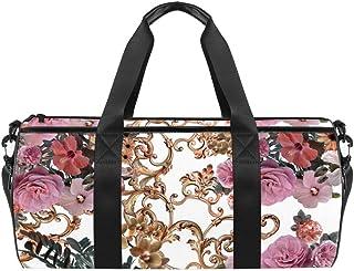 DJROWW Schultertasche aus Segeltuch mit Blumen und goldenem Barockstil, Reisetasche, für Fitnessstudio, Sport, Tanz, Reisen, Wochenender