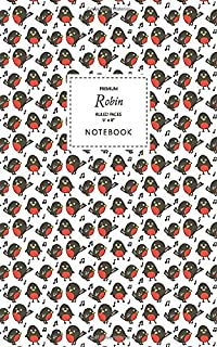 Robin Notebook - Ruled Pages - 5x8 - Premium: (White Edition) Fun Christmas Robin notebook 96 ruled/lined pages (5x8 inche...