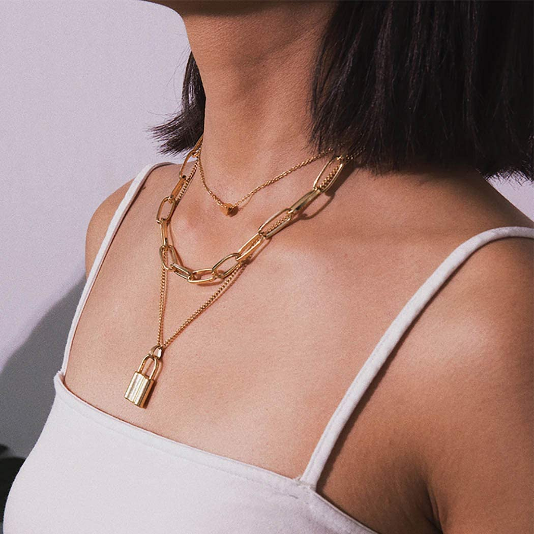 Abien Boho Lock Pendant Layered Necklaces Gold Heart Rectangle Chain Necklace Jewelry for Women and Girls