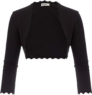 GRACE KARIN Women's 3/4 Sleeve Open Front Scalloped Knit Cropped Bolero Shrug Cardigan