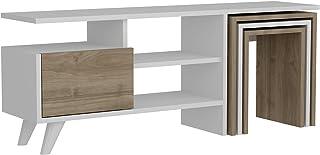 Mueble bajo para televisión Mueble para la televisión Mueble para el salón Color Blanco y Nogal 2237 120 x 295 x 49 cm