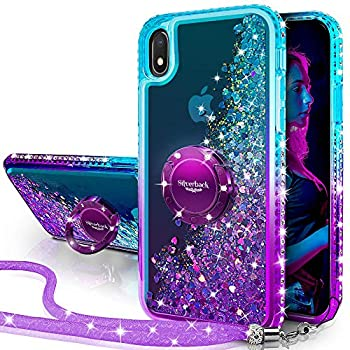 Silverback Galaxy A10 Case,Galaxy M10 Case Moving Liquid Holographic Sparkle Glitter Case with Kickstand Bling Bumper with Ring Stand Slim Samsung Galaxy A10 Case for Girls Women -Purple