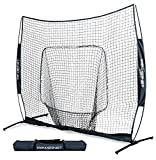 PowerNet 8x8 XLP PRO Net with One Piece Frame (Navy) | Huge Baseball Softball Hitting Pitching Area | Great for Teams | Batting Fielding Portable Backstop | Non-Tip Weighted Base | 8 x 8 (64SqFt)