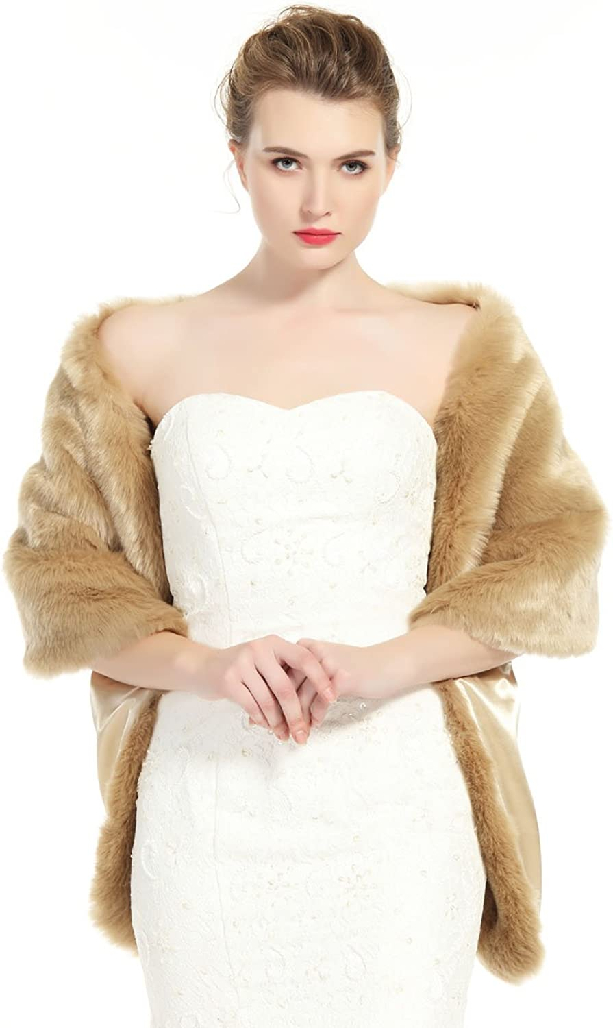 BEAUTELICATE Women's Faux Fur Shawl Stoles Wrap for Bridal Wedding PartyS62