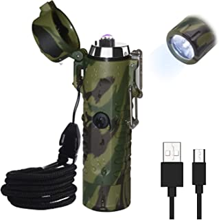 Waterproof Lighter, Keenisic Electric Lighter Flashlight USB Rechargeable Arc Lighter, Portable Handheld LED Lighter Flashlight, IP67 Water-Resistant for Outdoor Camping - 2 in 1 (Camouflage)
