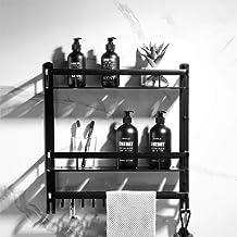 Punch, gratis badkamerwand, gemonteerde handdoekbeugel, dubbele badborstel, opbergrek, zwarte badkamerplank, zwarte dubbel...