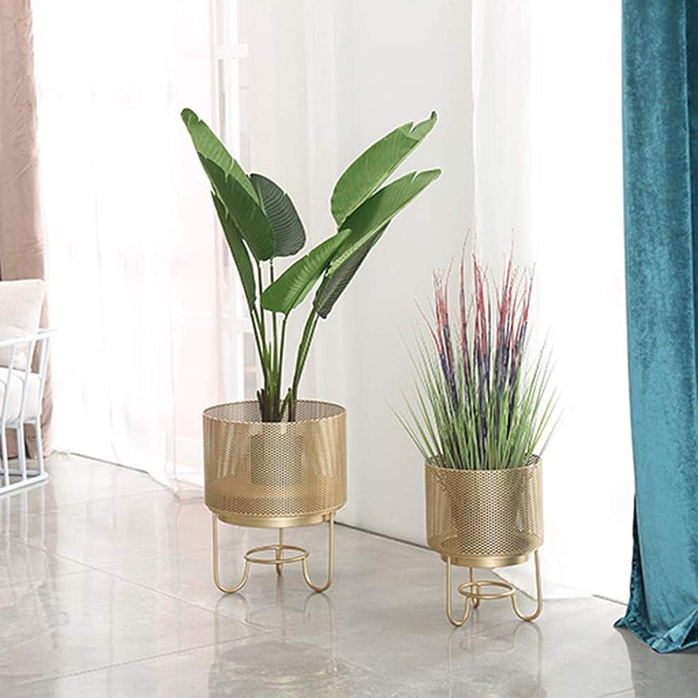 潜むアクセスできない常習的クリエイティブフラワーポットスタンド2個セット、リビングルームバルコニー装飾盆栽棚、アイロンアートコンサイス中空アウト植物スタンド、ゴールド