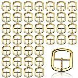 Fibbie a rullo in Metallo 40 Pezzi, Fibbie per Cintura per Borse, Cinture, Scarpe, Fibbia ad Ardiglione Hardware, 12 mm-Dorata