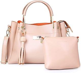 Shining Star Women's Handbag With Sling Bag (Set of 2) (ST-004CR_Cream)