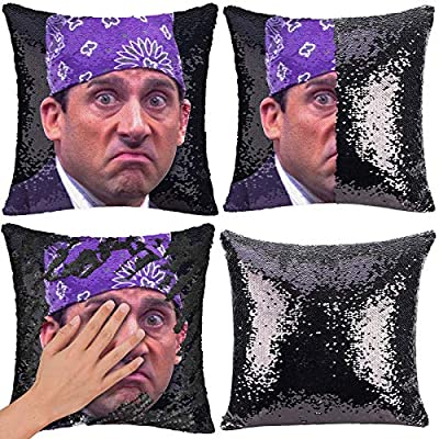 "RongDX Sequin Pillow Case Funny Magic Reversible Mermaid Pillow Cases Throw Pillow Covers Cushion Cover Decorative Pillowcase(16""x16"") (Prison Mike B/Black)"