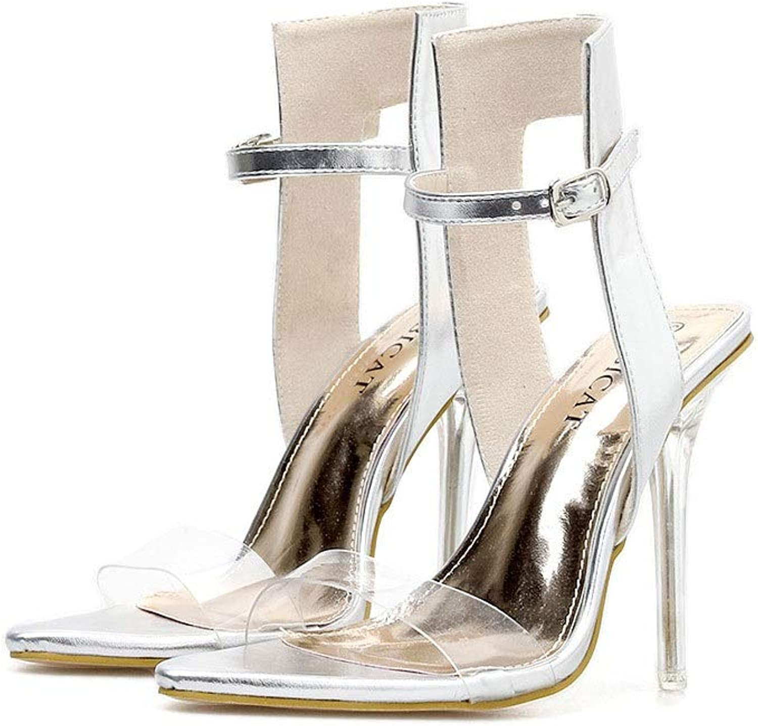 Summer Crystal and Pointed Sandals, Women's High Heel Sandals (color   Silver, Size   5.5 US)