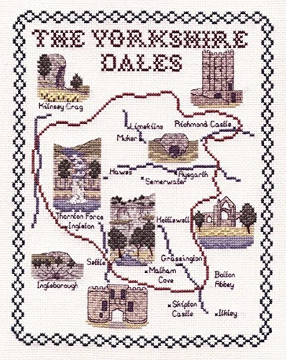 Classic Embroidery The Yorkshire Dales 14 Count aida Cross Stitch map, Mixed, Multi-Colour, 20 x 25 x 1 cm