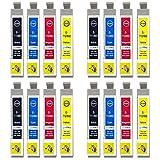 Go Inks E-715 Compatible Set de 4 Cartouches d'encre pour remplacer T0711, T0712, T0713, T0714 (T0715) pour une utilisation avec les imprimantes Epson Stylus (Lot de 16)