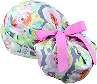 Womens Ponytail Surgical Scrub Hats Large (Watercolor Roses)