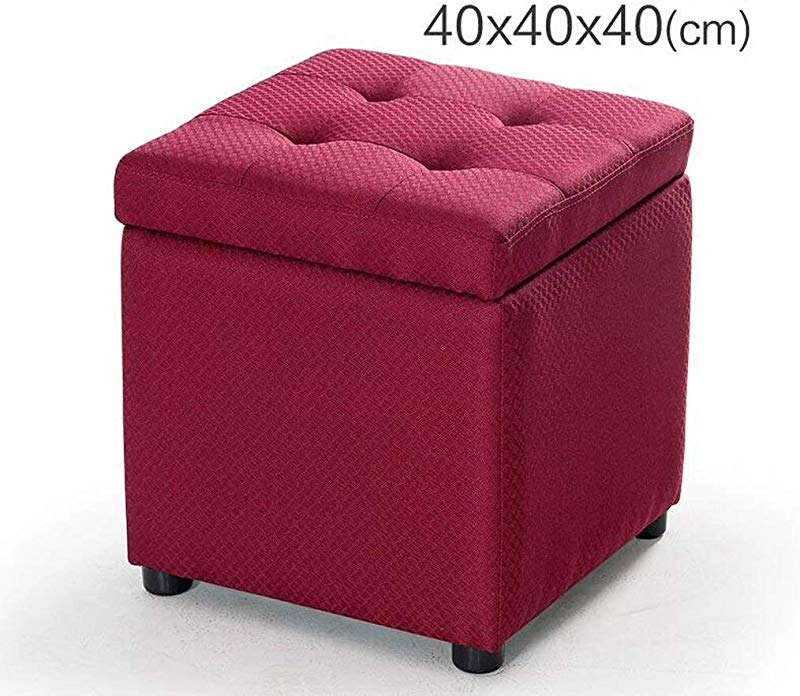 Carl Artbay Wooden Footstool Dark Red Grid Pattern Square Storage Stool Change The Shoe Stool Low Stool Footstool Home Size 404040cm