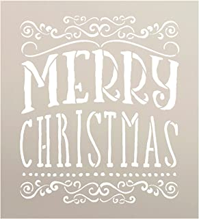Merry Christmas Stencil by StudyR12 | Whimsical Swirls Word Art - Reusable Mylar Template | Painting, Chalk, Mixed Media | Use for Crafting, DIY Home Decor | SELECT SIZE (10