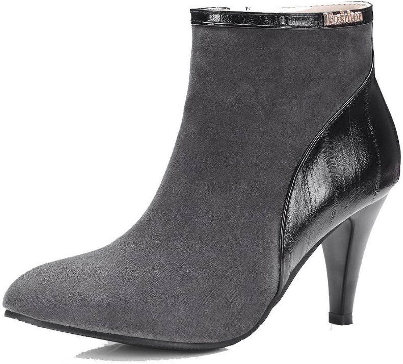 WeiPoot Women's High-Heels Assorted color Blend Materials Zipper Boots, EGHXH021652