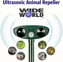 Ultrasonic Pest Repeller by Wide World - Solar Powered Waterproof Outdoor Wild Animal Repellent - Motion Sensor and Powerful Sound for Deer Cat Dog Squirrel Mole Rat Fox Wolf Raccoon - Sound Control